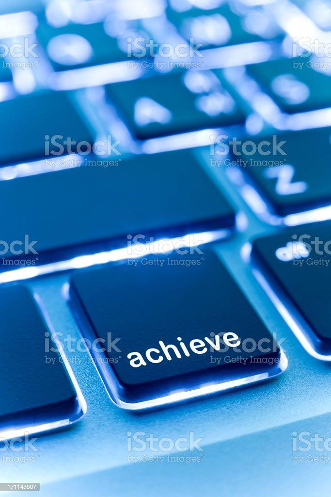 Computer laptop keypad 'achieve' button. royalty-free stock photo