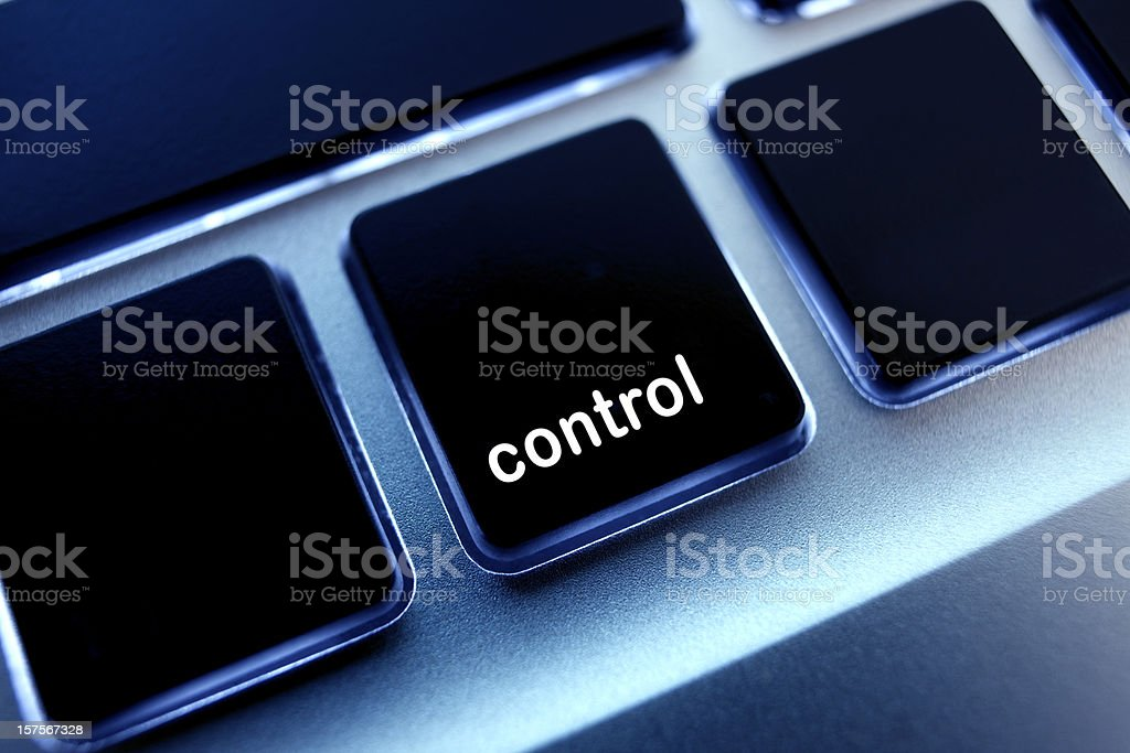 Computer laptop keypad 'control' button. stock photo