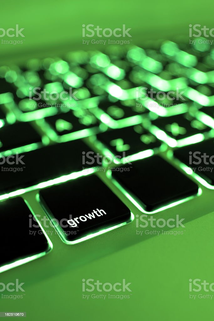 Computer laptop keypad 'growth' button. royalty-free stock photo