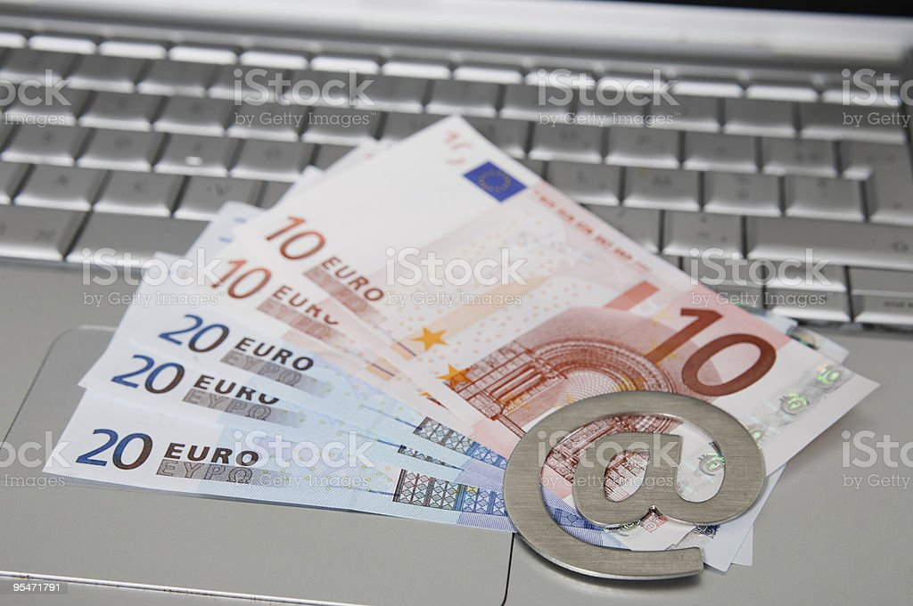computer laptop money arobase sign royalty-free stock photo