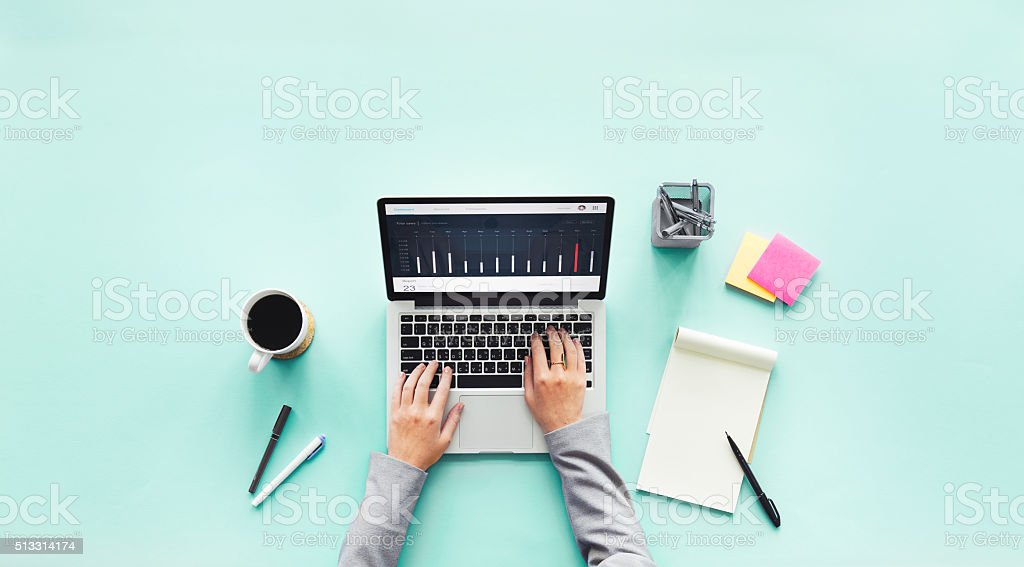 Computer Laptop Research Working Desk Concept stock photo