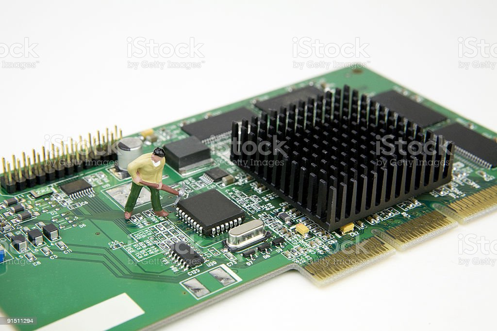 Computer maintenance/Data mining stock photo
