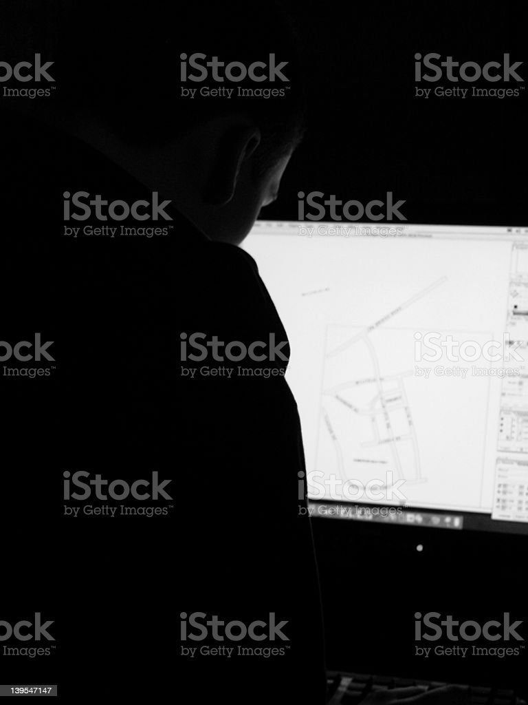 Computer man grey stock photo