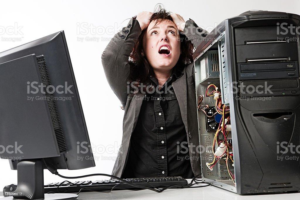 Computer mania stock photo