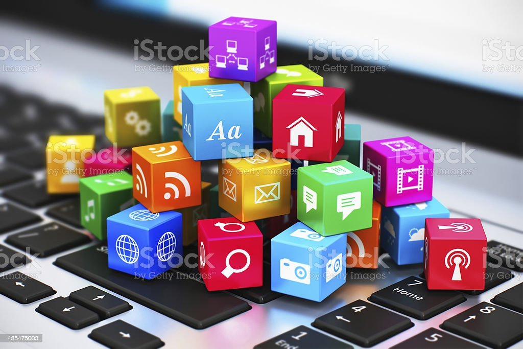 Computer media and internet communication concept stock photo