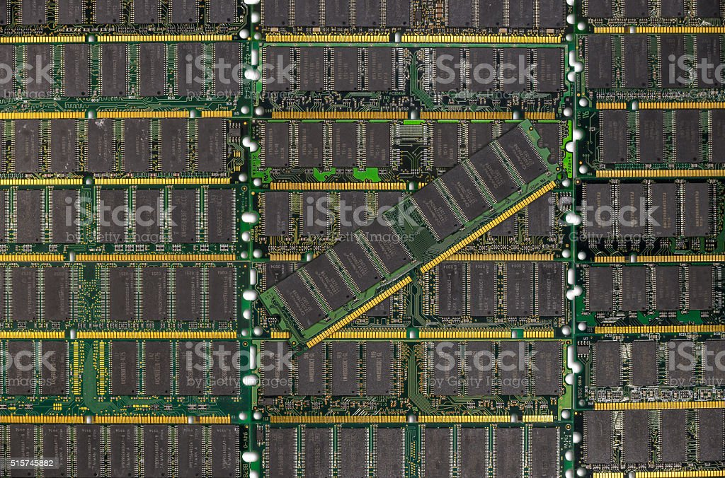 DDR RAM, Computer memory chips modules background stock photo