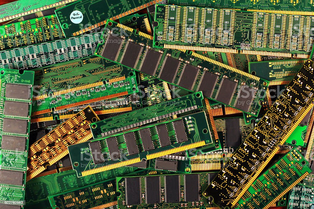 computer memory modules as background. dimm simm sdram ddr chips stock photo