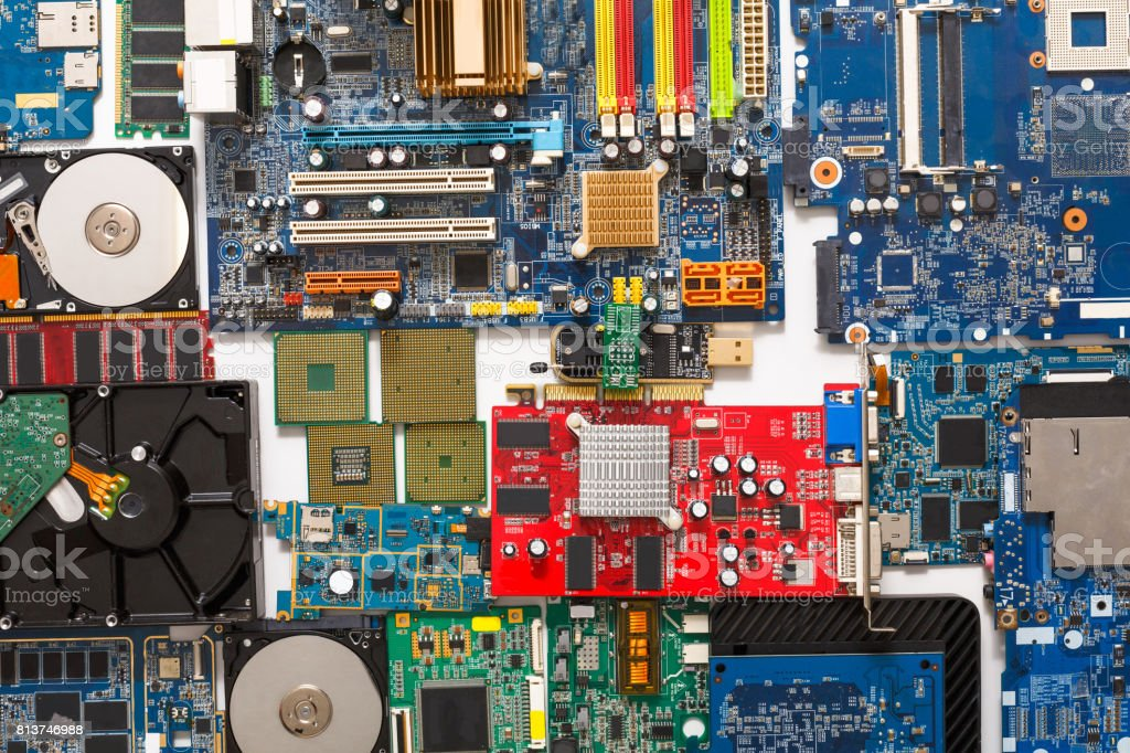 Computer microcircuits and hdd disassembled close up stock photo