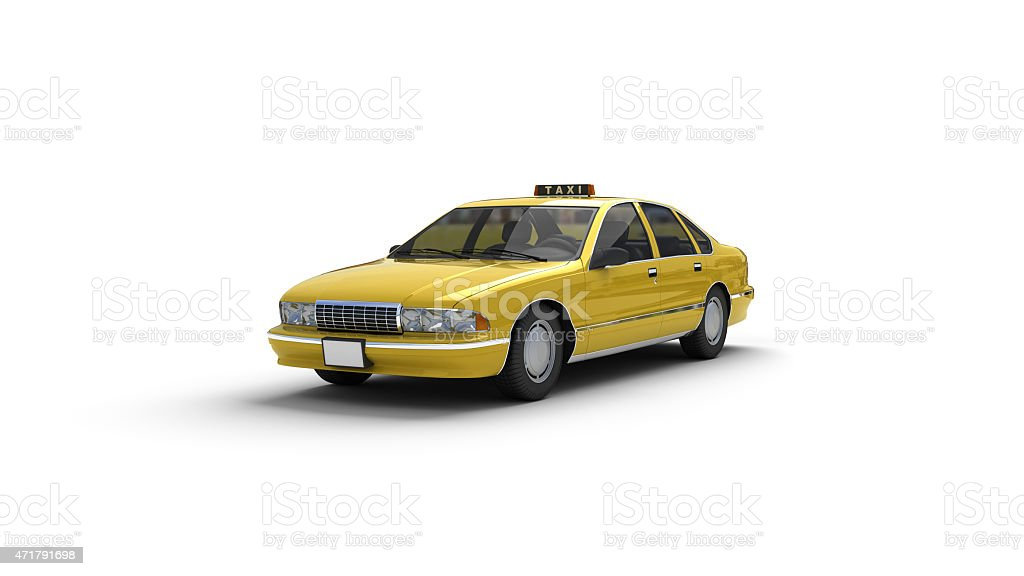 3D computer model of yellow taxi cab stock photo