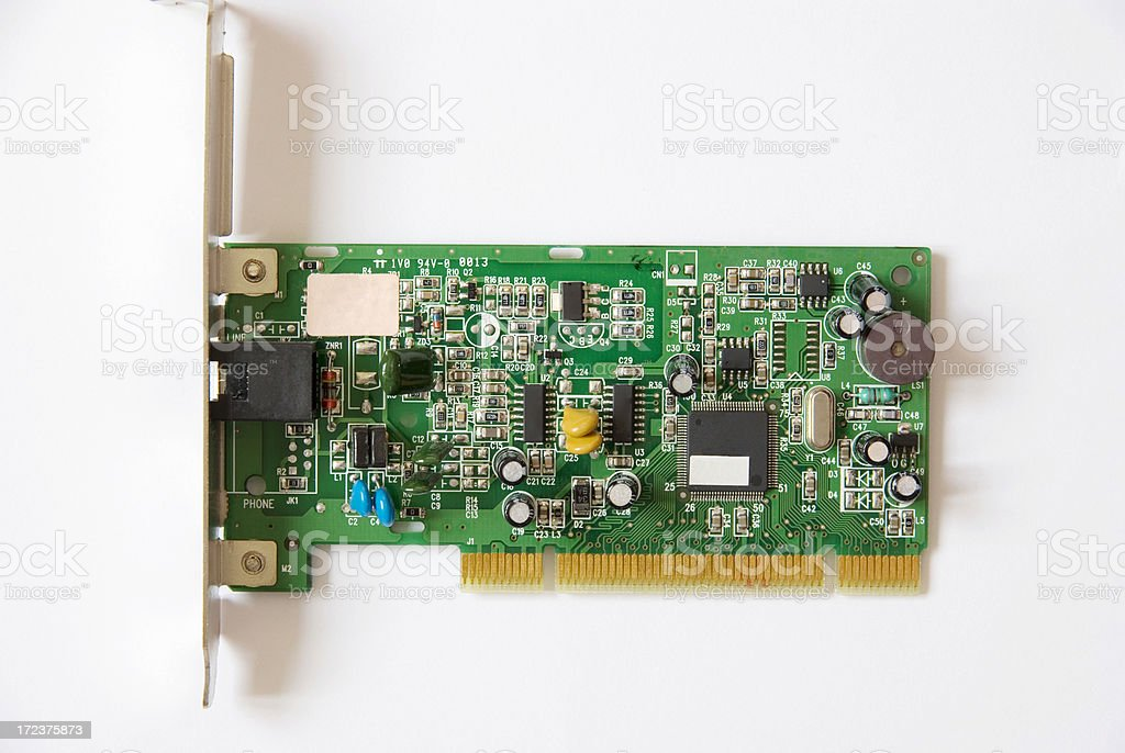 Computer Modem Card isolated on White royalty-free stock photo