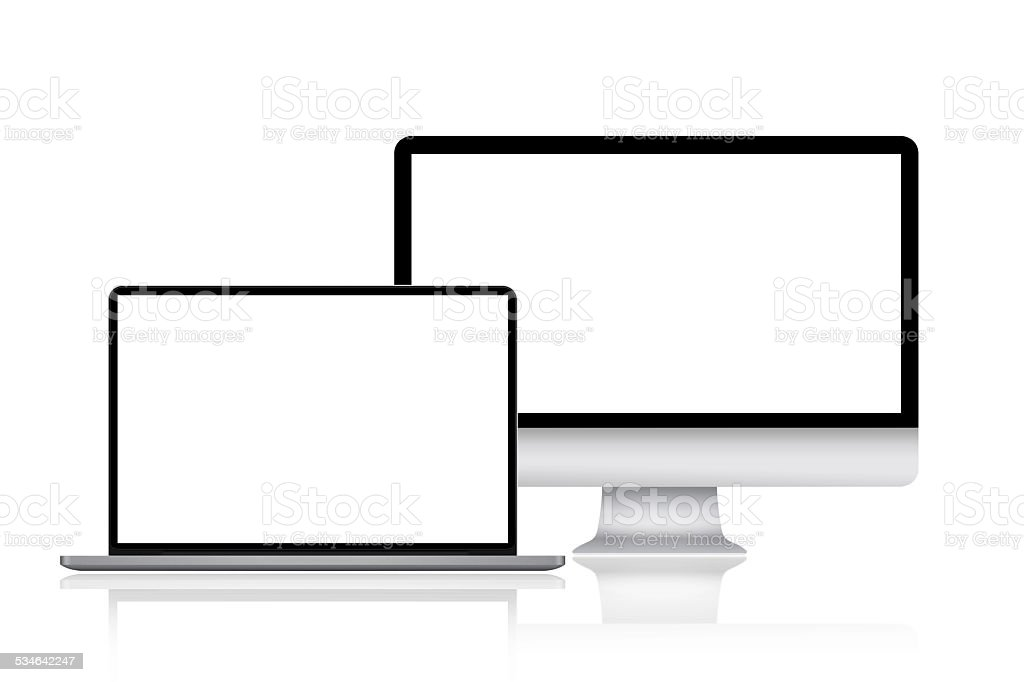 Computer monitor and laptop stock photo