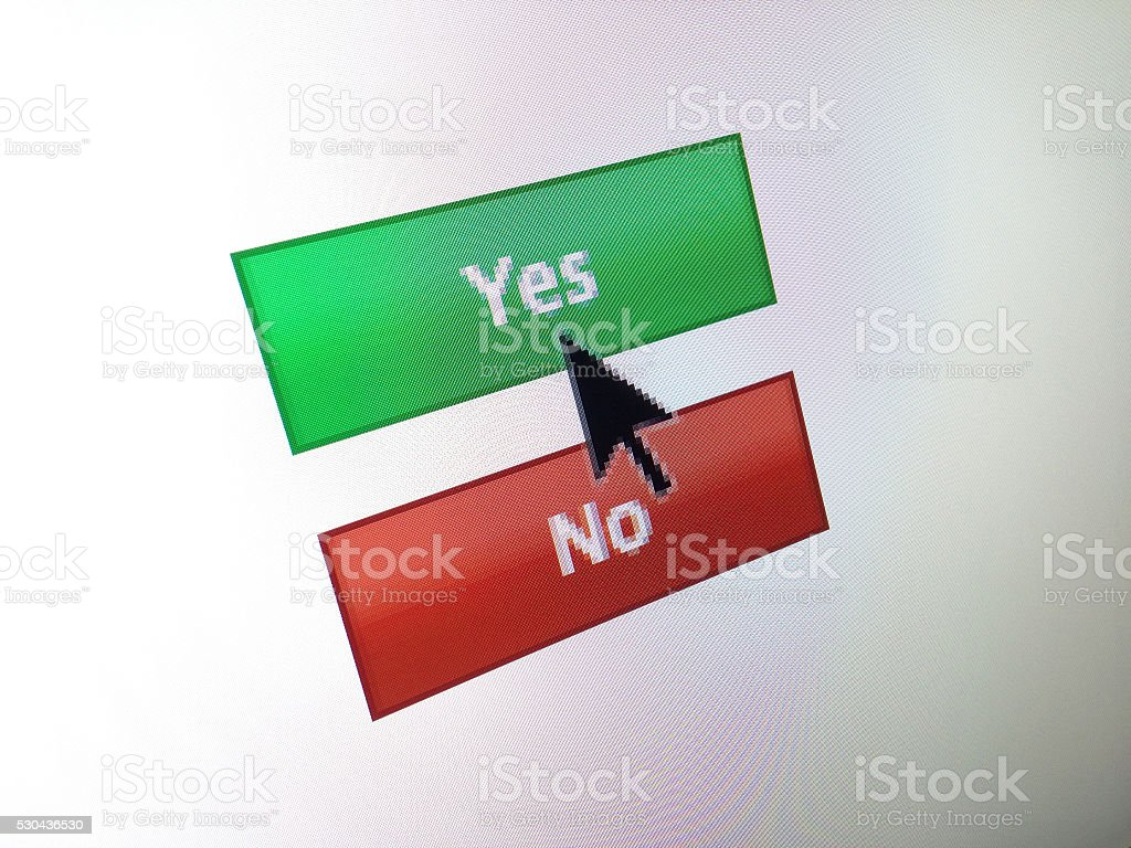 NO computer monitor button with mouse arrow stock photo