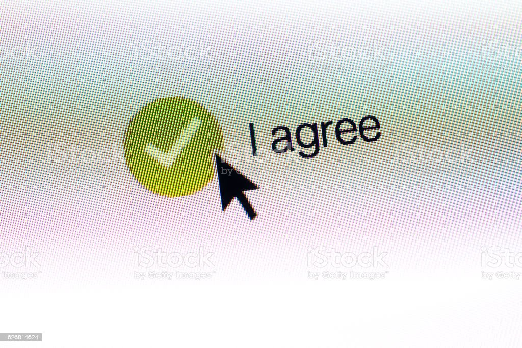 AGREE computer monitor button with mouse arrow stock photo