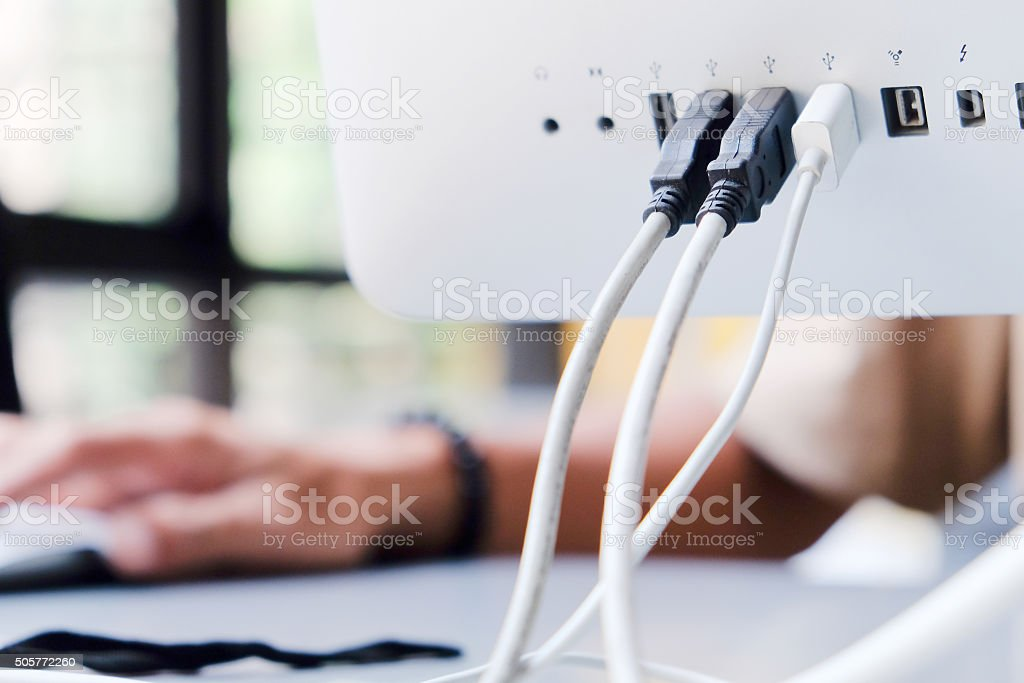 Computer monitor port stock photo