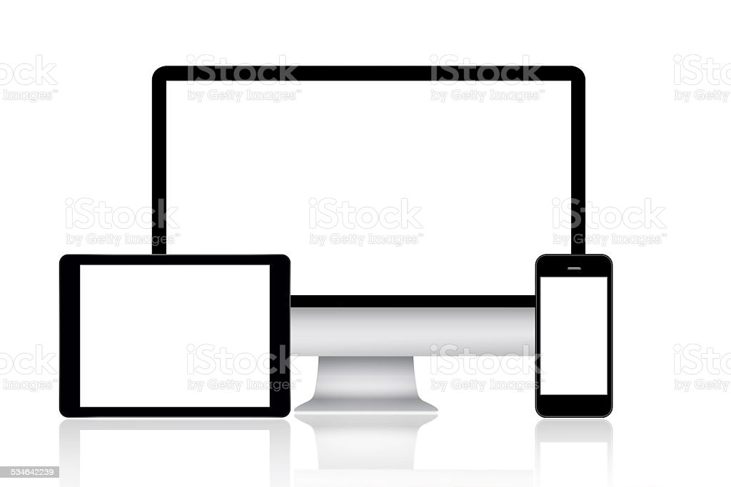 Computer monitor, tablet and smartphone vector art illustration