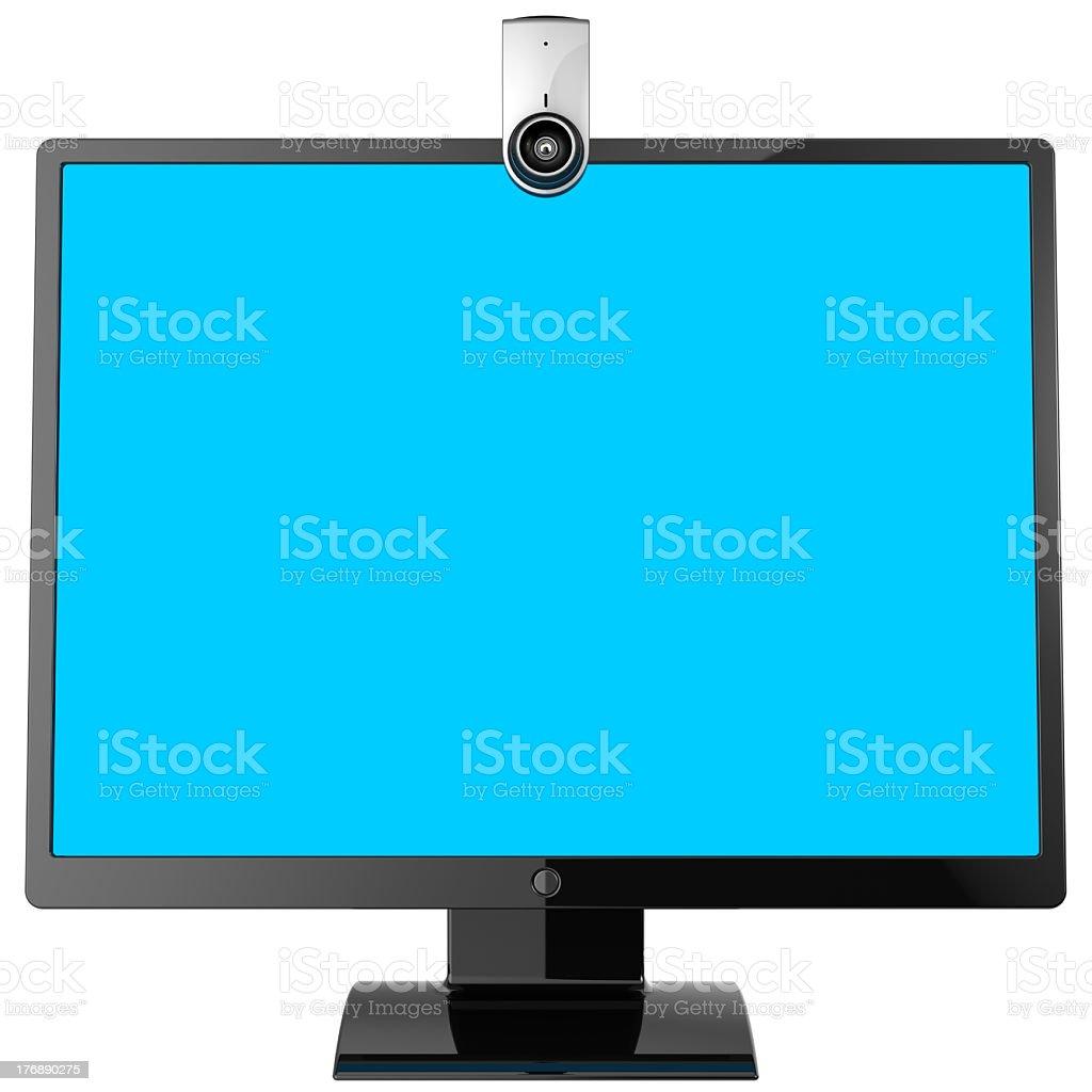 Computer monitor. Video call equipment (Hi-Res) stock photo