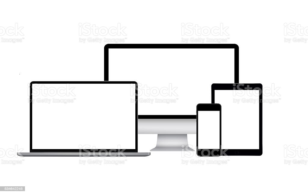 Computer monitor with mobile devices stock photo