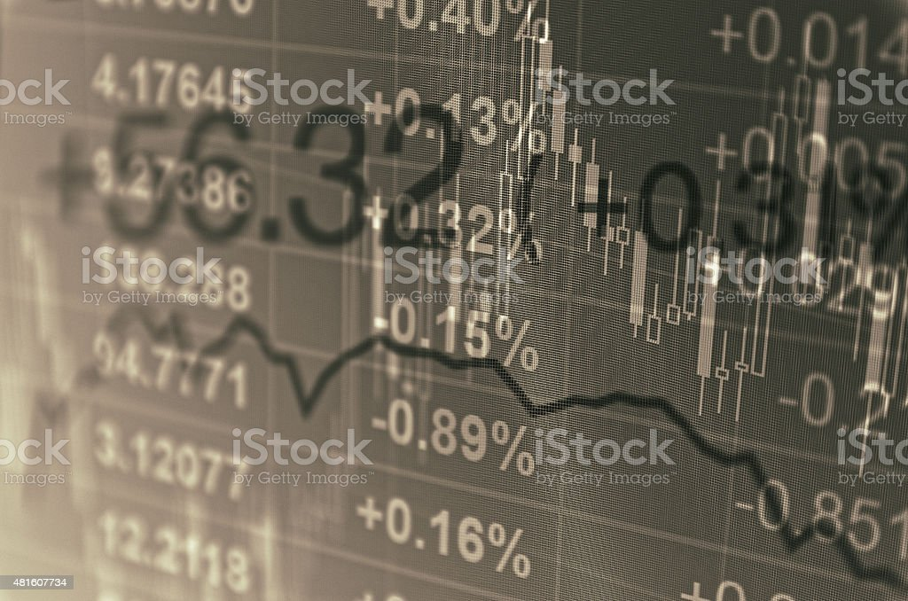 Computer monitor with trading software. Financial information. stock photo