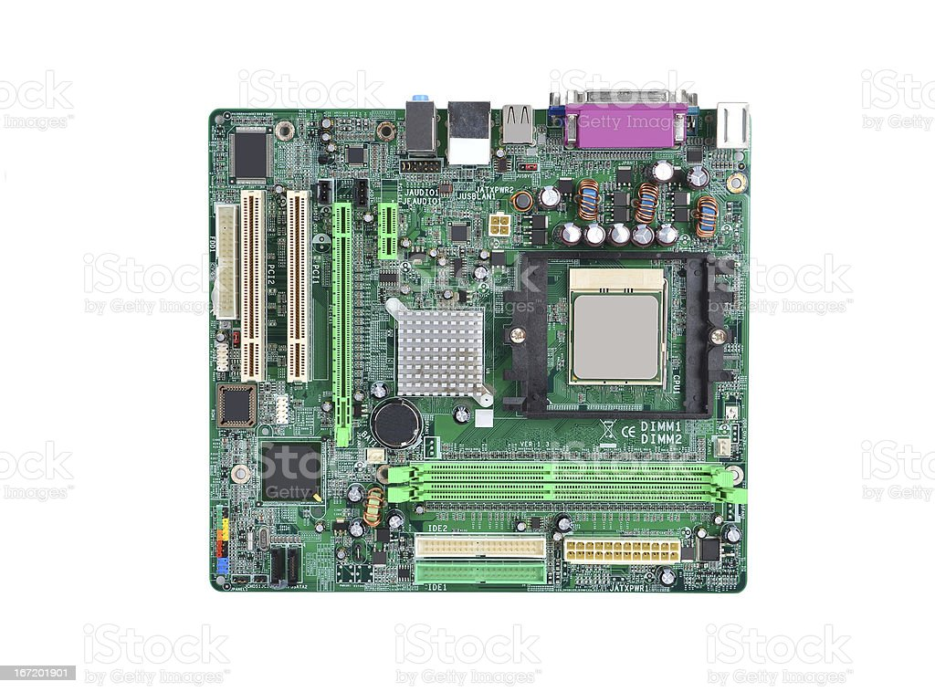 Computer motherboard board stock photo