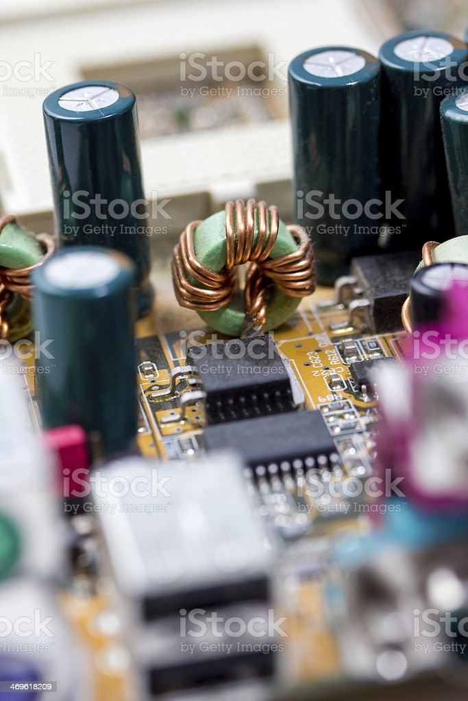 computer motherboard close up stock photo