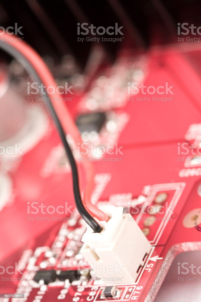 Computer motherboard, close-up shooting stock photo