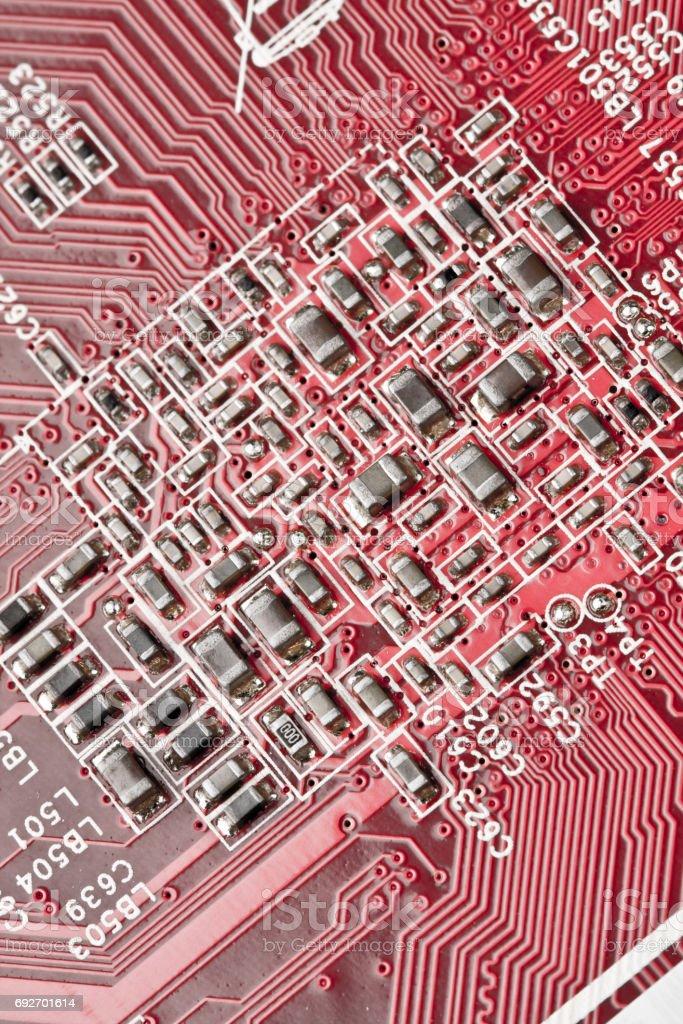 Computer motherboard, close-up shooting stock photo