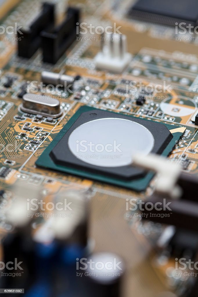 Computer motherboard microprocessor stock photo