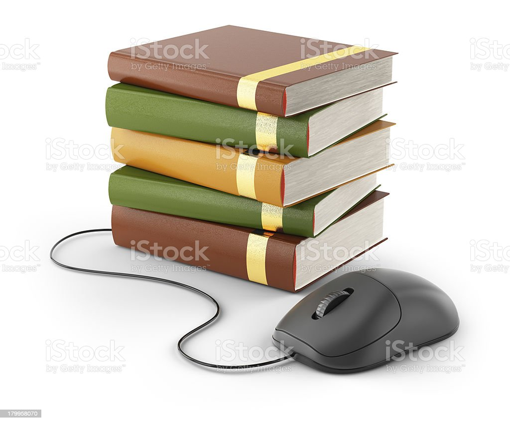 computer mouse and stack of books royalty-free stock photo
