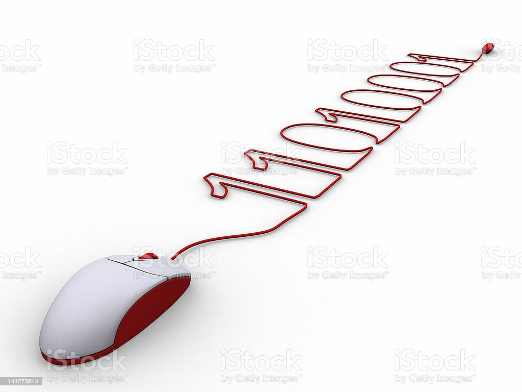 Computer mouse cable creating binary code royalty-free stock photo