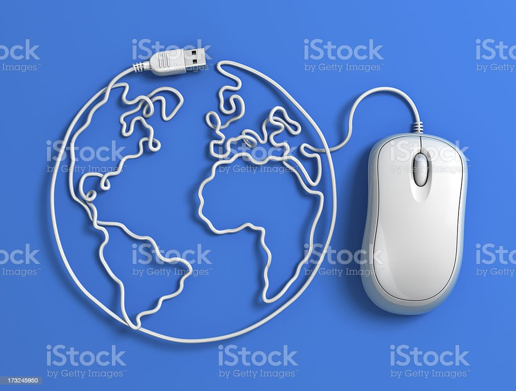 Computer mouse cable globe - blue stock photo