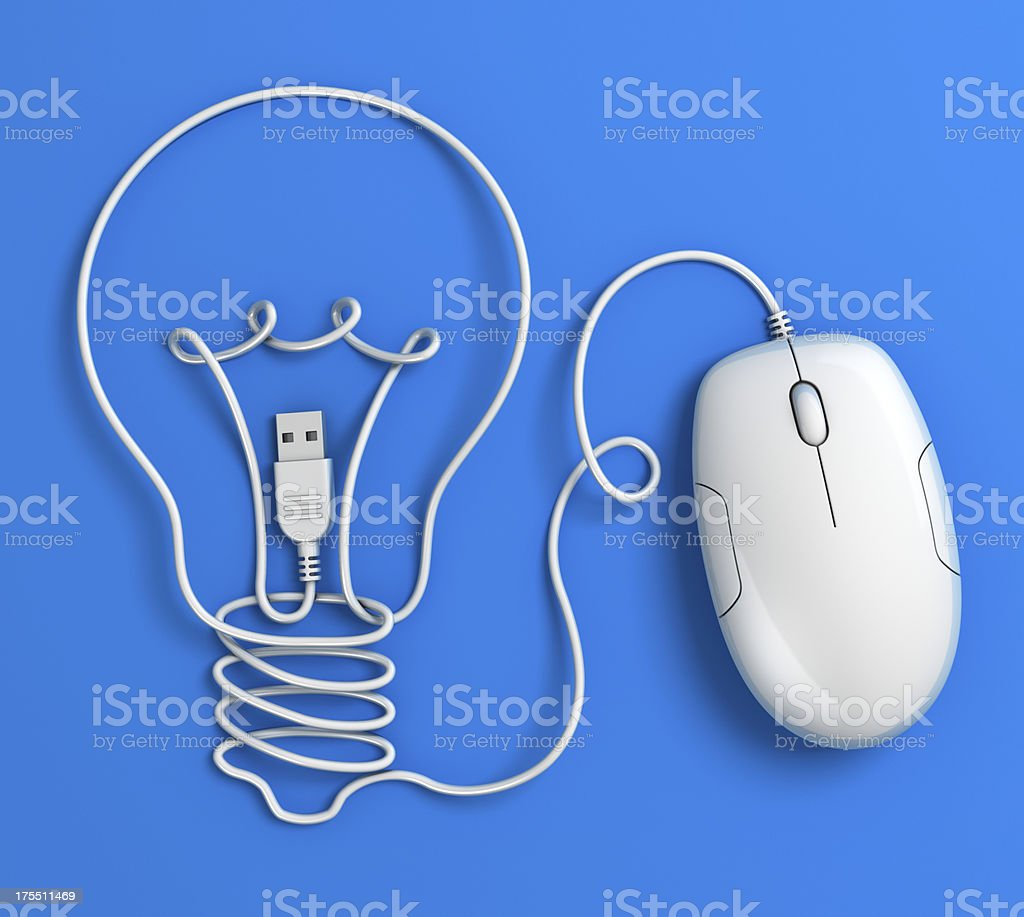 Computer mouse cable lightbulb - blue royalty-free stock photo