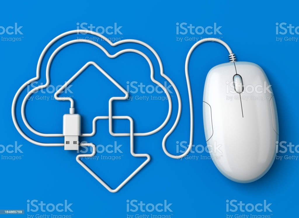 Computer mouse cloud computing blue stock photo