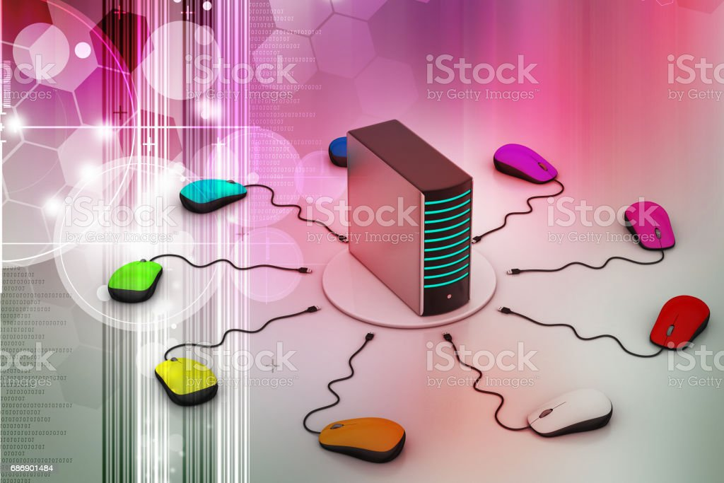 computer mouse connected Server stock photo