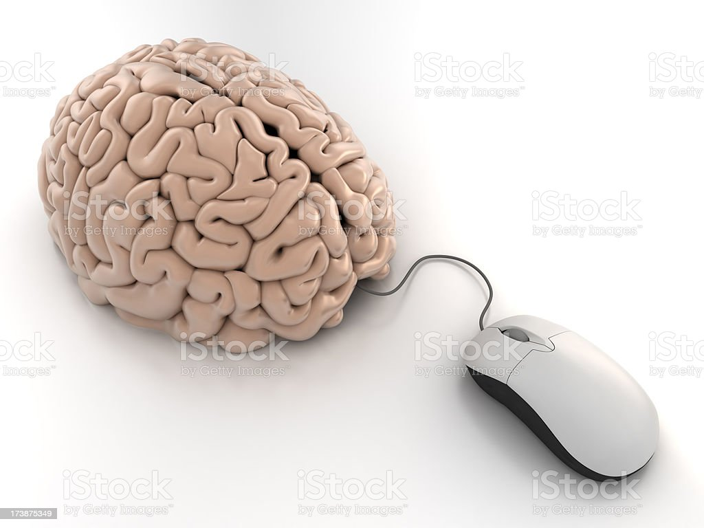 Computer mouse connected to brain - clipping path royalty-free stock photo