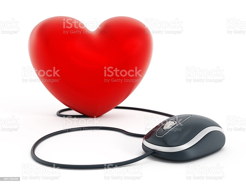 Computer mouse connected to red heart shape vector art illustration