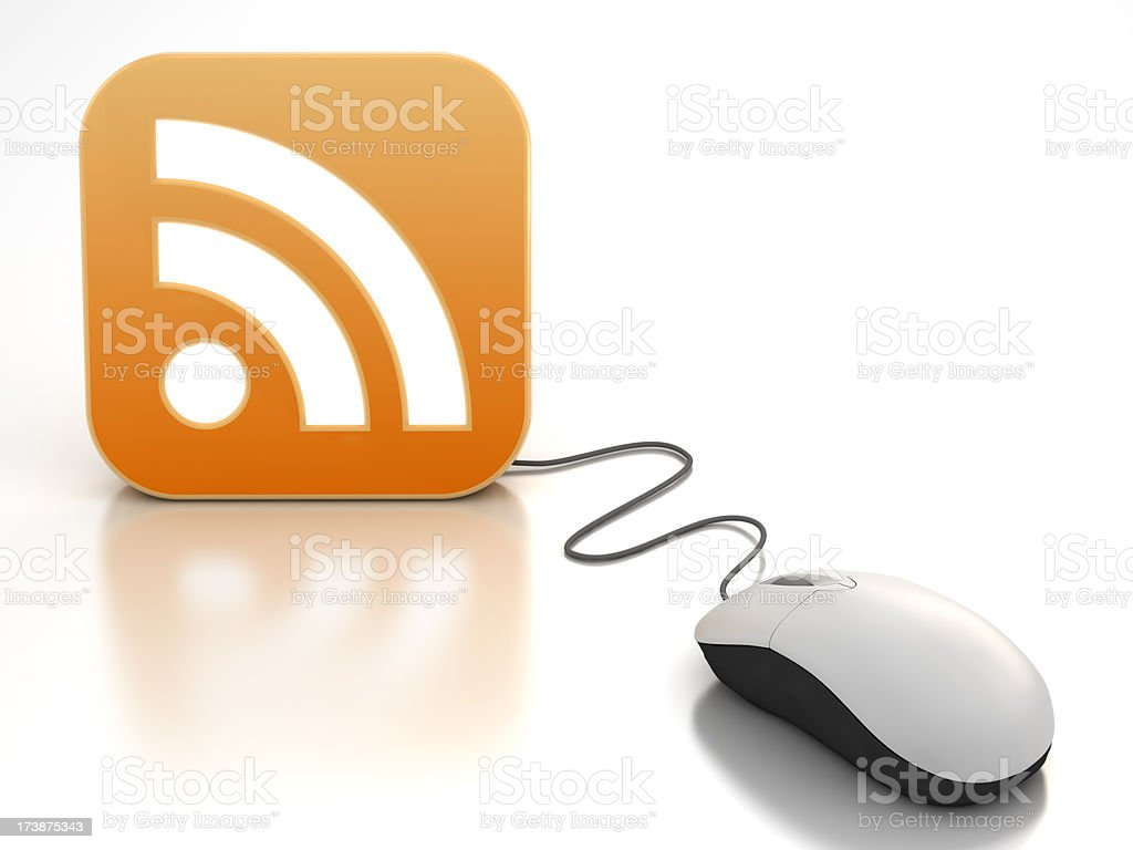 Computer mouse connected to RSS feed icon - clipping path royalty-free stock photo