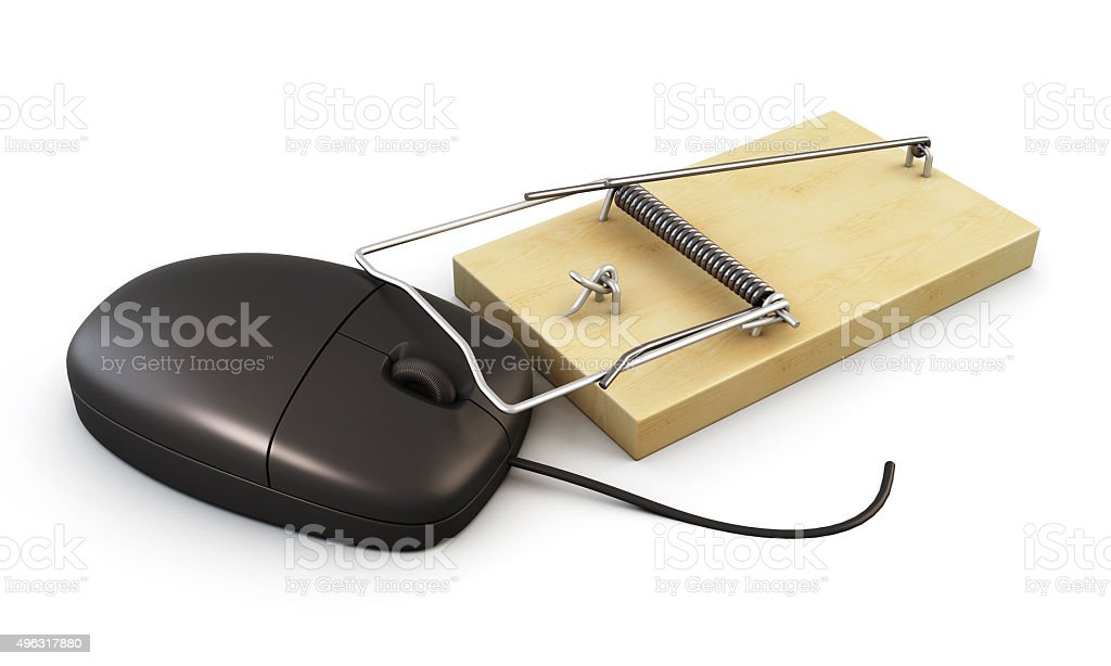 Computer mouse in a mousetrap. 3d. stock photo