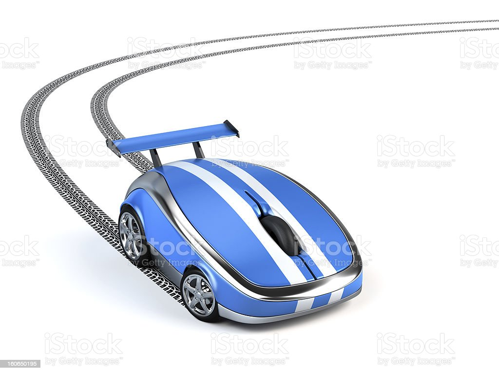 A computer mouse in a shape of a blue mini sports car stock photo