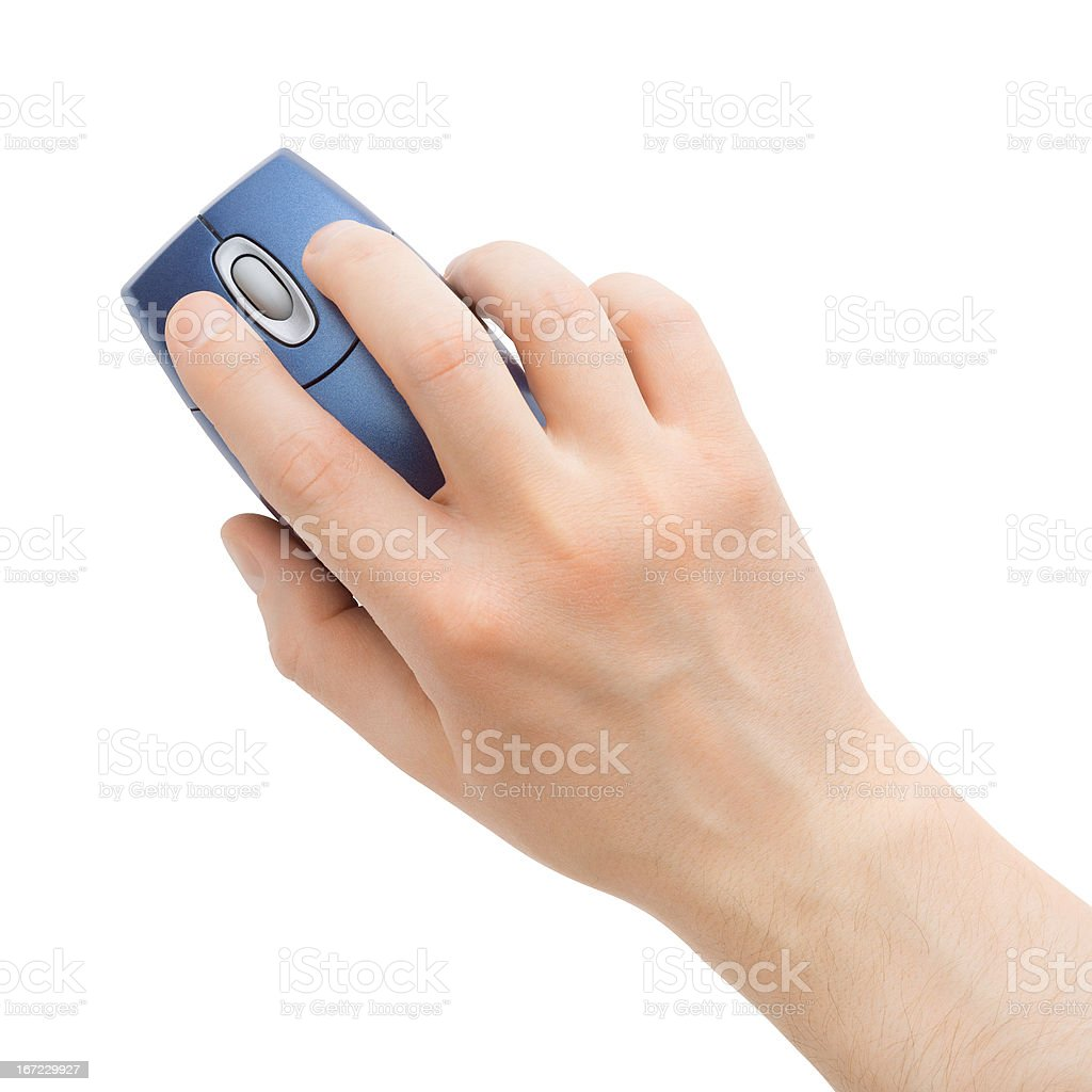 computer mouse in hand stock photo