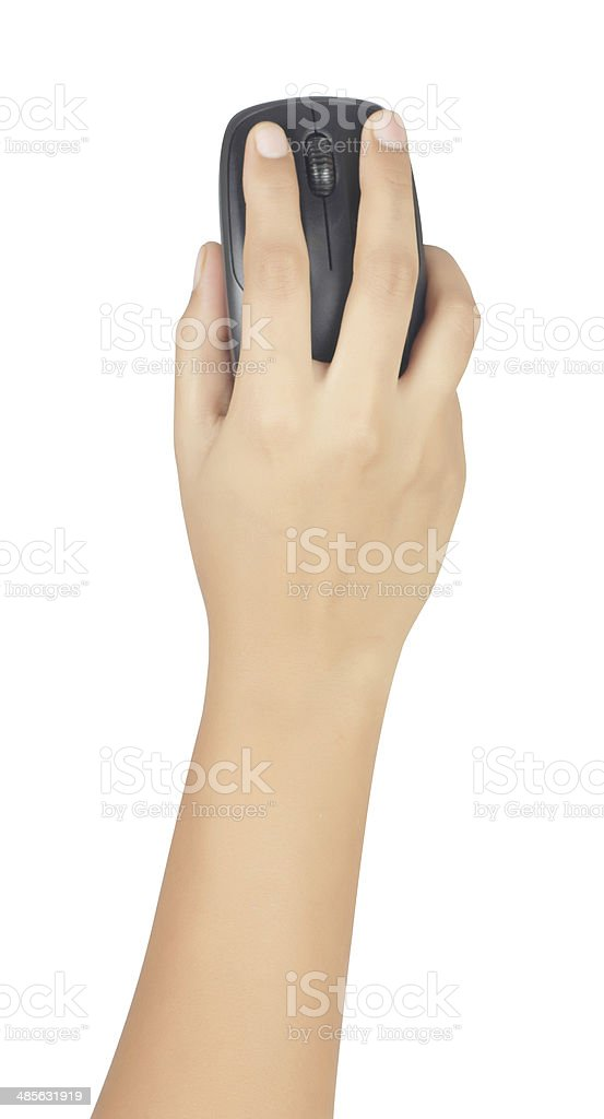 Computer mouse in human hand stock photo
