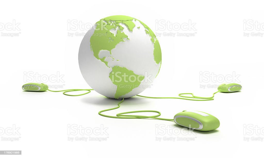 Computer mouse trio linked to globe royalty-free stock photo