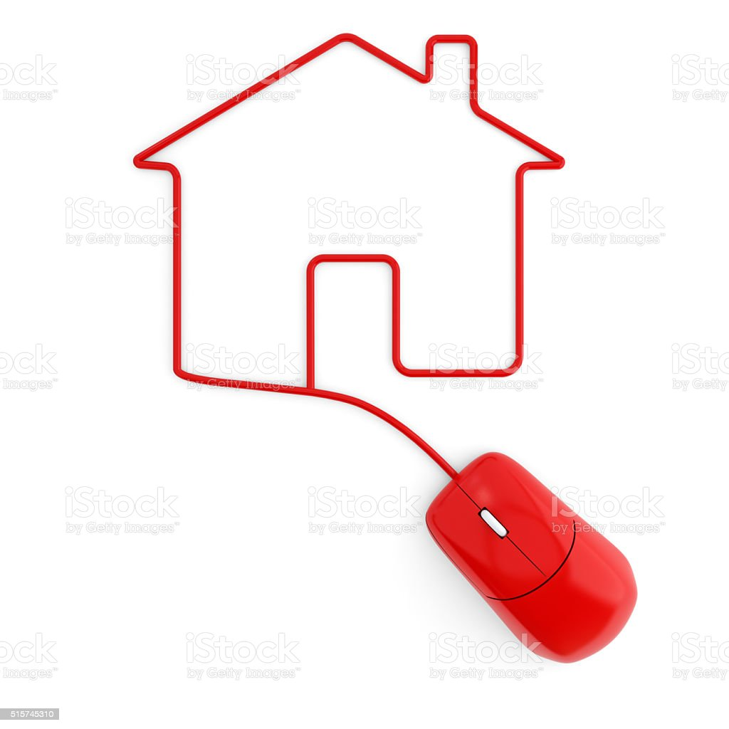Computer mouse with cable forming a house stock photo