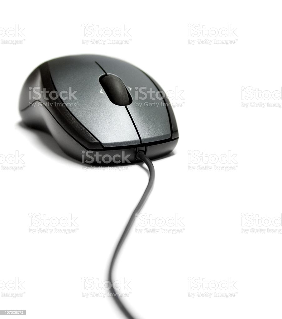 Computer mouse with cable isolated stock photo