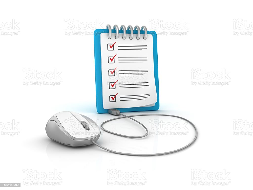 Computer Mouse with CheckList Clipboard - 3D Rendering stock photo