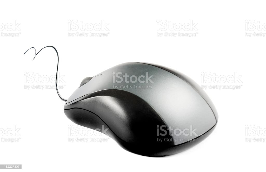 Computer mouse with curved bacble, isolated on white stock photo