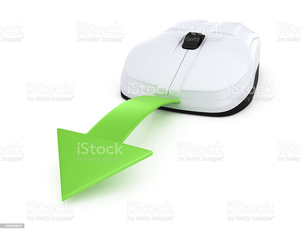 computer mouse with green arrow royalty-free stock photo