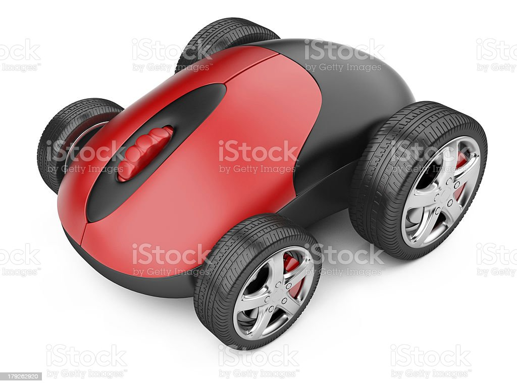 Computer mouse with wheels stock photo