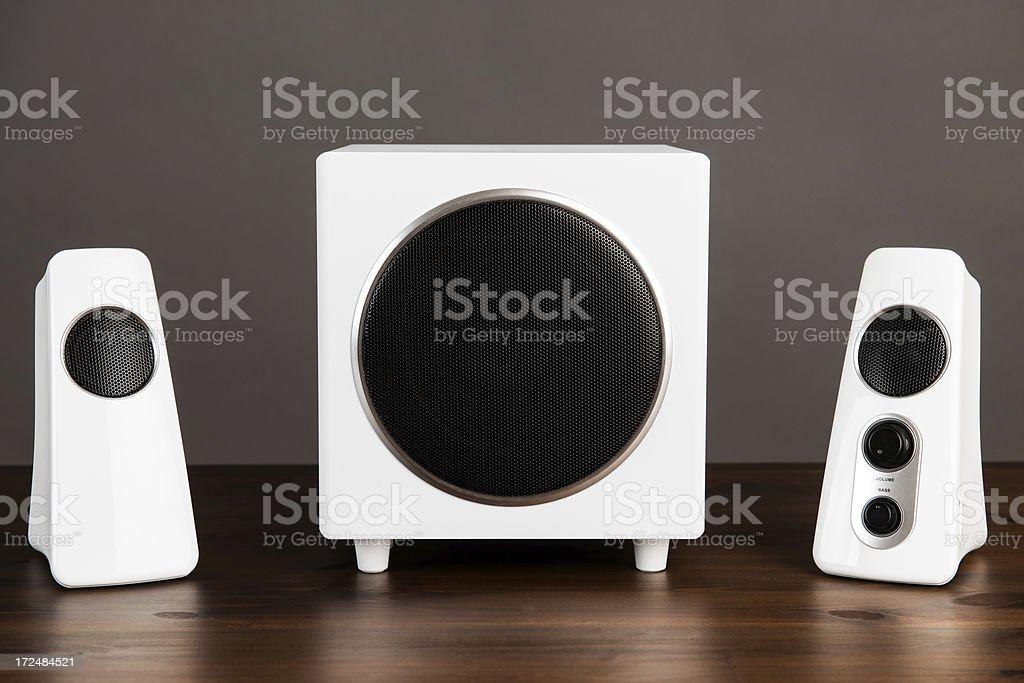 Computer multi media speaker stock photo