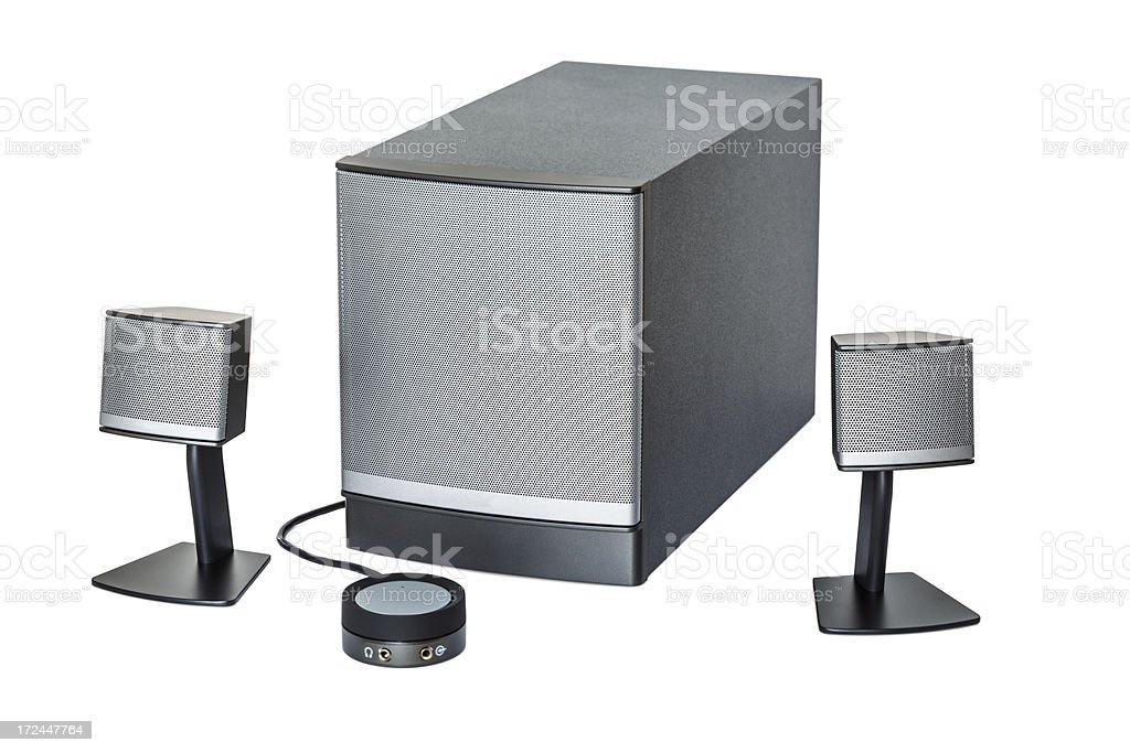Computer multimedia speakers stock photo