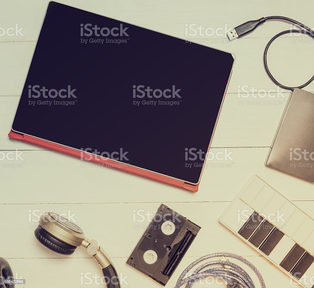 Computer Music Equipments. Tablet and Music Entertainment. stock photo